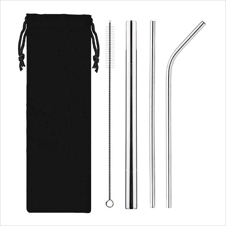 SD 23004 - Reusable Stainless Steel Straw with Cleaning Brush Travel Set