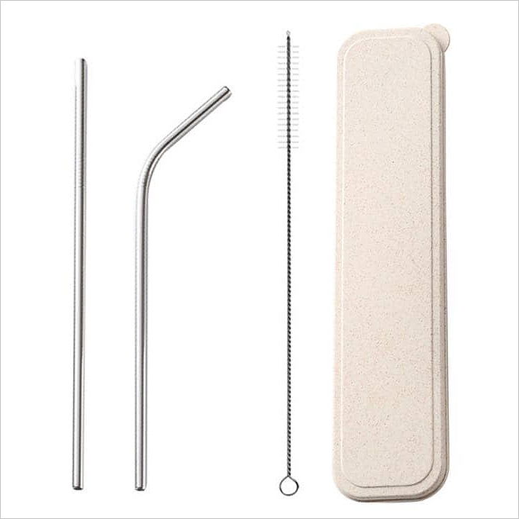 SD 23003 - Reusable Stainless Steel Straw with Cleaning Brush Travel Set