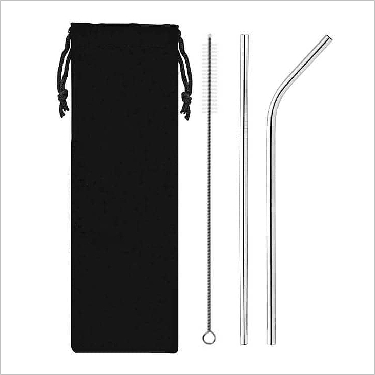 SD 23005 - Reusable Stainless Steel Straw with Cleaning Brush Travel Set